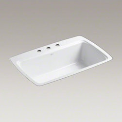"""KOHLER - KOHLER Cape Dory(R) 33"""" x 22"""" x 9-5/8"""" tile-in single-bowl kitchen sink with 3 f - The Cape Dory sink is a kitchen classic, with its generous single bowl that simplifies the task of washing large pots and pans. Crafted from enameled cast iron, this sink resists chipping, cracking, or burning for years of beauty and reliable performance."""
