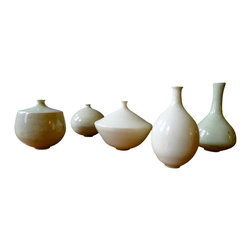 """Mini Vase Set, Mint - Sold in sets of 5. These """"Mini Vases"""" are tiny treasures. Amazingly delicate and perfect little forms, these ornament with elegance and grace."""