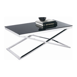 """Sunpan Modern - Barrett Coffee Table - This truly modern coffee table is constructed of heavy chrome finished steel with a 10mm tempered black glass top. The x-base gives this table a distinctive presence. Features: -Material: 10mm Tempered black glass.-X-base.-Frame: Chrome finished steel.-Barrett collection.-Collection: Barrett.-Style: Contemporary.-Top Finish: Black Glass.-Distressed: No.-Powder Coated Finish: No.-Gloss Finish: No.-Wrought Iron: No.-Top Material: Glass.-Base Material: Steel.-Number of Items Included: 1.-Non-Toxic: Yes.-UV Resistant: No.-Scratch Resistant: No.-Stain Resistant: Yes.-Moisture Resistant: Yes.-Design: Rectangle.-Drop Leaf: No.-Shape: Rectangle.-Lift Top: No.-Tray Top: No.-Storage Under Tabletop: No.-Folding: No.-Magazine Rack: No.-Built In Clock: No.-Powered: No.-Nested Stools Included: No.-Casters: No.-Exterior Shelves: No.-Cabinets Included: No.-Drawers Included: No.-Corner Block: No.-Cable Management: No.-Adjustable Height: No.-Glass Component: Yes -Tempered Glass: Yes.-Beveled Glass: No.-Frosted Glass: No..-Upholstered: No.-Outdoor Use: No.-Swatch Available: No.-Commercial Use: Yes.Dimensions: -Overall Height - Top to Bottom: 18"""".-Overall Width - Side to Side: 43.5"""".-Overall Depth - Front to Back: 24"""".-Table Top Thickness: 2"""".-Table Top Width - Side to Side: 43.5"""".-Table Top Depth - Front to Back: 24"""".-Drawers: No.-Shelving: No.-Cabinets: No.-Legs: -Leg Height - Top to Bottom: 16""""..-Overall Product Weight: 90 lbs."""