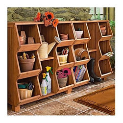 """Atlantic Outdoor - Storage Cubby - Features: -Storage cubby. -Upturn lips keep items stored and maximize storage space. -Big compartments provide plenty of useful storage space for organization. -Center shelf is removable for flexible storage options. -Cubby is stackable if multiple units are used. -Metal brackets are provided for securing to the wall. -Easy assembly required. -Overall dimensions: 35"""" H x 33.5"""" W x 15"""" D."""
