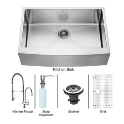 Vigo Industries - 33 in. Sink and Chrome Faucet Set - Includes apron front sink, faucet, soap dispenser, matching bottom grid, sink strainer, all mounting hardware and hot-cold waterlines.