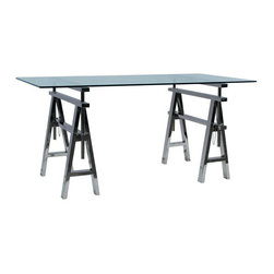 Kathy Kuo Home - Enzo Industrial Style Adjustable Height Stainless Steel Work Desk - This striking stainless steel industrial desk is as useful as it is handsome. Adjustable height ensures optimal comfort for a desk or drafting table. The architectural trellis base marries form and function for a workspace as unique as your creations.