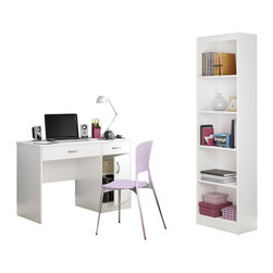 South Shore - South Shore Axess 2 Piece Office Set with Narrow Bookcase in White - South Shore - Office Sets - 72500707250758PKG -
