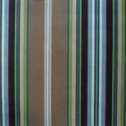 "Close to Custom Linens - 72"" Shower Curtain, Unlined, Carlton Stripe Walnut Brown - Carlton is a varied-width stripe with shades of brown, red, blue, gold, green and cream."