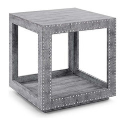 Regina Andrew - Regina Andrew Shagreen Studded Accent Cube - Regina Andrew's new contemporary line has debuted with some timeless pieces. This occasional table is both modern & chic, with python and stud accents to make this the perfect side table for any room.