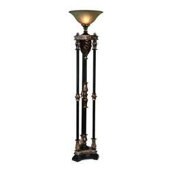 Crestview Collection - 4-Column Torchiere - Glass globe. Wattage: 150 W. Walnut with silvered bronze color. 71 in. H (42.52 lbs.)