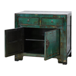 Uttermost - Syretta Antique Console Cabinet - Antique Style Cabinet In A Glowing, Peacock Blue Gloss Finish, Heavily Distressed And Crackled With Black And Ivory Undertones, Accented By An Ivory Crackled Top. Traditional Chinese Hardware In Aged Brass.