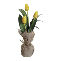 Allstate Floral & Craft - Yellow Tulip & Pot Set - Brighten up a room with this lovely bouquet and burlap pot set. The bright colors of the plastic flowers will catch the eye of friends and family while on a shelf, mantle or side table and add a natural touch to d̩cor. �� Includes tulips and pot 14.5'' H Polyester / polyfoam Imported