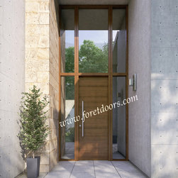 Modern front entry doors / contemporary front entry doors - Solid wood contemporary entry door with sidelights, transom and stainless steel pull