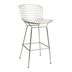 Bertoia Style Barstool, White - This bar stool is a reproduction based on Harry Bertoia's classic design. Bertoias mesh bar stool provides an excellent example of emphasizing material and space. The overall idea behind these stools is more about the surroundings than of the furniture itself. As Bertoia once said, they should appear as if ?they are mainly made of air, like a sculpture. Space passes right through them. In other words, this timeless piece of furniture is being created to compliment the environment rather than define it.