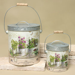 ZiaBella - Wildflower Can Set - Give décor a touch of garden charm with this set of elegantly decorated cans, perfect for displaying floral arrangements on your porch or hearth.   Includes two cans with lids Small: 4.75'' H x 5.25'' diameter Large: 8'' H x 7'' diameter Galvanized tin Imported