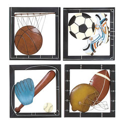 UMA - Fab Four Sports Wall Decor - Four individual frames full of fun and detail present the basic equipment for basketball, soccer, baseball and football