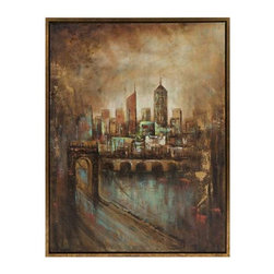 Skyline Cityscape Framed Oil Painting - The twinkling lights of the city at night, the hustle and bustle of city streets add an excitement in which you can truly feel in this painting.