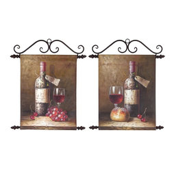 Set of 2 Wine Bottle Still Life Handpainted Canvases Wall Art - This set of 2 hand-painted canvas wall hangings features metal rods on top and bottom. The top piece is used to hang on your wall, the bottom acts as a weight to keep the canvas taut. The canvases measure 19inches by 16 1/4 inches each, with still life paintings of wine bottles with grapes and bread, respectively. They make a great gift.