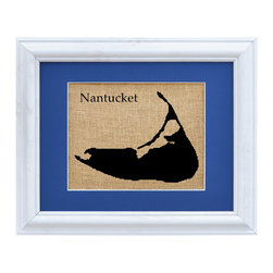 Fiber and Water - Nantucket Art - Pride and love of place is always stylish, especially when it's a place of great character like Nantucket island. This simple silhouette is printed in black onto natural burlap like a vintage agricultural sack, giving it a nostalgic charm. It's matted in a deep nautical blue to harmonize with coastal decor, and framed in whitewashed wood to complete the rustic-chic look.