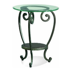 "Basett Mirror - Dauphine Round Chairside Table - The Dauphine Round Chairside Table (Pewter Finish) has the following features: Manufactured by Bassett Mirror Part of the Dauphine Collection Made of iron and glass in a pewter finish One of our transitional-styled end tables that will work in almost any living room Dimensions: 21"" x 21"" x 26"" H. Weight: 13 lbs."