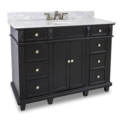 "Recessed Panel Vanity Set, Fluted Pilasters (Extended Drawers) - This set consists of 48"" wide MDF vanity with tapered legs and preassembled marble top. A large center cabinet and eight fully functioning drawers provide for ample storage. Vanity comes preassembled with a 2cm white marble top with 4"" tall backsplash, 15"" x 12"" bowl, and cut for 8"" faucet spread."