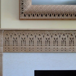 Armand Rateau Fireplace Mantel - Rateau inspired fireplace mantel and TV frame - hand carved in wood