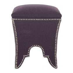 Safavieh - Deidra Ottoman - A blend of graceful curves and eastern design influences, the chic Deidra Ottoman recalls Moorish architecture with its cutout arch motif. Beautifully upholstered in a wool blend texture and studded with silver nailheads, this pretty seat and super comfortable footrest is also designed for storage. Simply remove the seat cushion top to stow remotes, phone chargers, magazines and more.