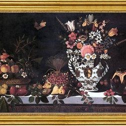 """Master of Hartford Still-life-16""""x24"""" Framed Canvas - 16"""" x 24"""" Master of Hartford Still-life Fruit Still-Life with a Vase of Flowers framed premium canvas print reproduced to meet museum quality standards. Our museum quality canvas prints are produced using high-precision print technology for a more accurate reproduction printed on high quality canvas with fade-resistant, archival inks. Our progressive business model allows us to offer works of art to you at the best wholesale pricing, significantly less than art gallery prices, affordable to all. This artwork is hand stretched onto wooden stretcher bars, then mounted into our 3"""" wide gold finish frame with black panel by one of our expert framers. Our framed canvas print comes with hardware, ready to hang on your wall.  We present a comprehensive collection of exceptional canvas art reproductions by Master of Hartford Still-life."""