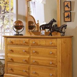 Vaughan Bassett - Double Dresser & Vertical Mirror Set in Pine - Includes double dresser and vertical mirror. Double dresser:. 6 Drawers. 52 in. W x 18 in. D x 36 in. H. Vertical mirror: 35 in. L x 2 in. W x 40 in. H. Pine finish. Assembly required