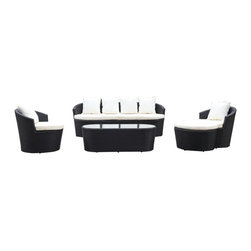 Fine Mod Imports - Shadow Outdoor Set - This set includes one sofa, two chairs, one ottoman and a coffee table. The base is made of aluminum it is light in weight and rust-free.Features: