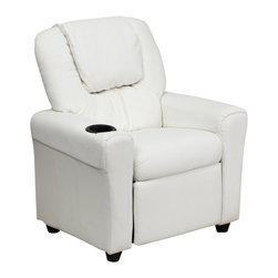 Flash Furniture - Flash Furniture Contemporary White Vinyl Kids Recliner w/ Cup Holder & Headrest - Kids will now be able to enjoy the comfort that adults experience with a comfortable recliner that was made just for them! This chair features a strong wood frame with soft foam and then enveloped in durable vinyl upholstery for your active child. Choose from an array of colors that will best suit your child's personality or bedroom. This petite sized recliner is highlighted with a cup holder in the arm to rest their drink during their favorite show or while reading a book. [DG-ULT-KID-WHITE-GG]