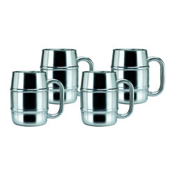 Old Dutch - Keep-Kool 16.9-ounce Double-wall Stainless Steel Mugs (Set of 4) - This set of four,double-walled stainless steel Keep-Kool Tankard Mugs spotlights an insulating layer of air between the walls that keep your brew colder,longer. No sweating and no need for a coaster,these mugs can handle even the coldest beverage.