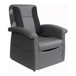 """Ace Bayou - Ace Bayou X-Rocker Storage Flip Sound Chair with Arms in Black/Grey - X Rocker Storage Flip Chair Black/Grey. Wired Sound Video Rocker 2.1. Sound Chair features a durable PVC seating surface, mesh and PVC on back rest. Full 2.1 wired stereo sound with subwoofer. Ergonomic seating position. Lift seat for storage. Side facing speakers. Great for reading, playing video games, watching TV, relaxing. With separate volume and bass controls. Will play music from any source with headset or RCA outputs. Approximate dimensions: L 35.24"""" x W 31.10"""" x H 28.54""""."""