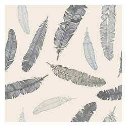 WallsNeedLove - Removable Wallpaper, Grey Goose Feathers - Our Grey Goose Feathers Wallpaper Wall Decal is a soft, relaxing accent design. Purchase this pattern by the roll, you choose the length to fit your space! Adding removable wallpaper to your space is much simpler than painting.