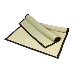 Oriental Unlimited - Lightweight & Portable Rush Grass Goza Mat - Goza is similar to the top layer of a traditional Tatami Mat. Lightweight portable mat. Can be rolled up for storage or to take on the go. Perfect for yoga, meditation or even the beach. Can also be used for a throw rug in the home or business. Hand-woven of rush grass in the traditional Japanese style with a Black canvas border. Measurements may vary slightly due to the handmade nature of this product. No assembly required. 72 in. W x 0.16 in. D x 36 in. H