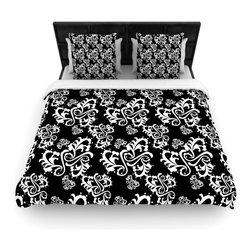 """Kess InHouse - Mydeas """"Sweetheart Damask Black & White"""" Pattern Cotton Duvet Cover (Queen, 88"""" - Rest in comfort among this artistically inclined cotton blend duvet cover. This duvet cover is as light as a feather! You will be sure to be the envy of all of your guests with this aesthetically pleasing duvet. We highly recommend washing this as many times as you like as this material will not fade or lose comfort. Cotton blended, this duvet cover is not only beautiful and artistic but can be used year round with a duvet insert! Add our cotton shams to make your bed complete and looking stylish and artistic!"""