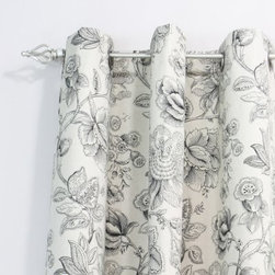 Chooty and Co Botany Black Grommet Curtain Panel - The charming look of drawings in a vintage botany book is what makes the Chooty and Co Botany Black Grommet Curtain Panel the perfect way to finish your space in style. The easy-to-hang grommet design and durable 100% cotton construction mean these curtains will be a favorite part of your decor for years to come. The elegant, neutral colors and the vintage-inspired florals are perfect no matter your style.About Chooty & Co.A lifelong dream of running a textile manufacturing business came to life in 2009 for Connie Garrett of Chooty & Co. This achievement was kicked off in September of '09 with the purchase of Blanket Barons, well known for their imported soft as mink baby blankets and equally alluring adult coverlets. Chooty's busy manufacturing facility, located in Council Bluffs, Iowa, utilizes a talented team to offer the blankets in many new fashion-forward patterns and solids. They've also added hundreds of Made in the USA textile products, including accent pillows, table linens, shower curtains, duvet sets, window curtains, and pet beds. Chooty & Co. operates on one simple principle: What is best for our customer is also best for our company.