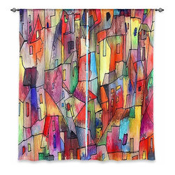 """DiaNoche Designs - Window Curtains Lined by Maeve Wright Rainbowville - Purchasing window curtains just got easier and better! Create a designer look to any of your living spaces with our decorative and unique """"Lined Window Curtains."""" Perfect for the living room, dining room or bedroom, these artistic curtains are an easy and inexpensive way to add color and style when decorating your home.  This is a woven poly material that filters outside light and creates a privacy barrier.  Each package includes two easy-to-hang, 3 inch diameter pole-pocket curtain panels.  The width listed is the total measurement of the two panels.  Curtain rod sold separately. Easy care, machine wash cold, tumble dry low, iron low if needed.  Printed in the USA."""