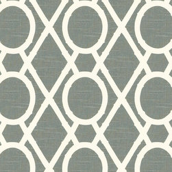 """Ballard Designs - Camargo Lattice Slate Fabric by the Yard - Content: 100% Cotton. Repeat: Non-railroaded fabric with 9"""" repeat. Care: Dry Clean. Width: 55"""" wide. Chippendale-inspired geometric of slate and cream printed on linen-like 100% cotton. . . . . Because fabrics are available in whole-yard increments only, please round your yardage up to the next whole number if your project calls for fractions of a yard. To order fabric for Ballard Customer's-Own-Material (COM) items, please refer to the order instructions provided for each product. Ballard offers free fabric swatches: $5.95 Shipping and Processing, ten swatch maximum. Sorry, cut fabric is non-returnable."""