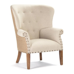 Kathy Kuo Home - Morten Masculine French Linen Burlap Wing Back Arm Chair - The Morten wing back armchair is a commanding, stylish chair  that works within a neutral palette. With French linen gracing the front of this button-detailed chair and khaki burlap covering the back, this seat has plenty of visual interest but never steals the focus. Nailhead detailing adds a bit of shine for your  country or cottage décor.