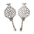 Pre-owned Moroccan Wall Brackets - A Pair - A gorgeous pair of solid metal wall brackets brought back from a trip to the Souk in Marrakesh. These are large and sturdy metal hooks, designed for holding several coats, garments and bags.