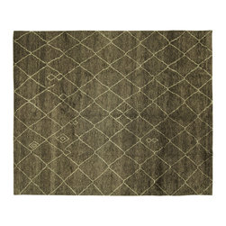 Manhattan Rugs - Modern Brown Diamond Abastract Moroccan Hand Knotted Wool Area Rug H6390 - Moroccan Rug weaving began with the Berbers, who were the indigenous people of North Africa and inhabited Morocco before it was invaded by Arabs in the seventh century. These rugs are usually in bold colors and animated patterns, and the designs are almost always geometric or tribal. The colors and patterns are distinct according to the tribe that wove it. In the twentieth-century, the Moroccan Rugs are widely collected in the West because of its unique tribal patters. The wool of these rugs is plush and soft to the touch.