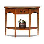 Leick Furniture - Favorite Finds Demilune Console Table - Dovetailed solid wood drawer. Bottom display shelf. Solid Ash and Oak veneer. Minimal assembly required. 34 in. W x 13 in. D x 28 in. HHigh traffic areas are perfect for the wall hugging demilune console. The classic console works wonders with a bold foyer mirror to make a great first impression.
