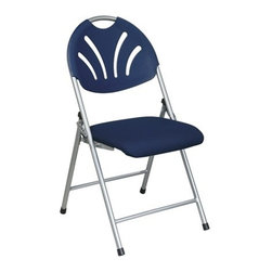 Office Star - Office Star Folding Chair with Blue Plastic Fan Back and Fabric Seat - Folding Chair with Blue Plastic Fan Back and Fabric Seat with Silver Frame (4-Pack)