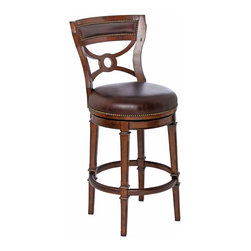 Ambella Home - Delaware Swivel Barstool - Armless - Mahogany barstool with elegant lines finished with rich leather accents on front, back and seat. (Leather subject to change)   Imported.