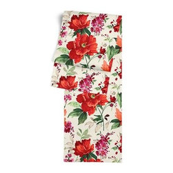 Bright Red Painterly Floral Custom Table Runner - Get ready to dine in style with your new Simple Table Runner. With clean rolled edges and hundreds of fabrics to choose from, it's the perfect centerpiece to the well set table. We love it in this vibrant floral in warm red, berry and emerald on smooth sateen. Modern in color, traditional in style: an energetic bouquet for any room.