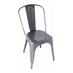 Kathy Kuo Home - Bouchon French Industrial Steel Cafe Side Chair - Set of 4 - This iconic industrial metal café chair, constructed of glossy steel, defines the utility and flexible use that makes loft style seating so appealing.  Used indoors or out, the classic lines evoke a French accent and afternoons spent in sidewalk cafés from the Left Bank to the East River.