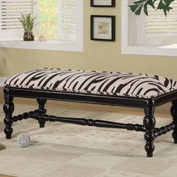 Coaster - Multi Color Transitional Bench - Zebra fabric bench with turned legs and individually placed nailheads. Finished in a deep black.