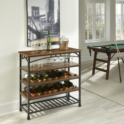 None - Modern Craftsman Wine Storage Rack - Reminiscent of the American Craftsman Era with understated style and simplicity,the Modern Craftsman Wine Storage Rack by Home Styles marries a distressed oak finish. This is constructed of oak veneer shelves with deep brown powder-coated metal.