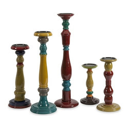 "IMAX - Jasper Wood Candleholders - Set of 5 - With varying shapes and turned wood styles, this bold, eclectic collection of five candleholders each has a unique colorful finish in globally inspire jewel tones. Holds pillar candles. Item Dimensions: (9.5-11.5-14-18-22""h x 4.75-5.25-5.25-6-6""w)"