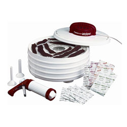 Metal Ware Corporation - Nesco Jerky Xpress Food Dehydrator - Includes four 13.5 in. trays and jerky gun with three tip attachments. 350-watts of drying power with fixed temperature output. Patented fan flow radial air drying technology. Top down power head. Four spice packs hot and spicy, teriyaki, original and pepperoni. Warranty: One yearThis dehydrator and home making jerky kit includes everything needed to make delicious home made jerky. Just add ground meat. All new, 350 Watt, fixed temperature, top down power head is perfect for the beginner or an experienced jerky maker! Makes great tasting beef jerky or venison jerky!