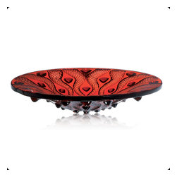 Lalique - Lalique Serpentine Bowl Red - Lalique Serpentine Bowl Red 1112010  -  Size: 14.96 Inches Wide x 3.15 Inches Tall  -  Genuine Lalique Crystal  -  Fully Authorized U.S. Lalique Crystal Dealer  -  Created by the Lost Wax Technique  -  No Two Lalique Pieces Are Exactly the Same  -  Brand New in the Original Lalique Box  -  Every Lalique Piece is Signed by Hand, a Sign of its Authenticity and Quality  -  Created in Wingen on Moder-France  -  Lalique Crystal UPC Number: 090592058350
