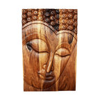 Kammika - Buddha Panel Serene Sust Wood 24 inch x 36 H w Eco Friendly Livos Walnut Oil Fin - This beautiful Buddha Panel Serene 24 inch length x 36 inch height x approximately 5 inch thickness, including the approximately 3 inch protruding nose, Sustainable Monkey Pod wood in Eco Friendly, Natural Livos Walnut Oil Finish Wall Panel presents a Buddha peaceful countenance gazing down from the magnificent, stately resource of wood. Now you can discover the calming, inspiring effect of Buddha in the Serene stage when you display this wall panel which has been carved from joining panels. Our wall panels are exquisite expressions of beauty that could become the centerpiece of any room they grace. Each of the panels has two embedded flush mount Keyhole hangers for a protruding screw from your wall. Hand carved by craftspeople in Thailand, these are made of sustainable wood grown specifically for the woodcarving industry. They are Hand rubbed in eco friendly Livos Walnut tone oil creating a highly water resistant and food safe finish, these natural oils are translucent, so the wood grain detail is highlighted; these are then polished to a matte finish. Color ranges from medium to dark Walnut brown tones that will darken as the wood ages. There is no oily feel and cannot bleed into carpets. We make minimal use of electric hand sanders in the finishing process. All products are dried in solar and or propane kilns. No chemicals are used in the process, ever. After each eco friendly piece is carved, kiln dried, sanded, and hand rubbed with Livos Mocha oil, they are packaged with cartons from recycled cardboard with no plastic or other fillers. The color and grain of your piece of Nature will be unique, and may include small checks or cracks that occur when the wood is dried. Sizes are approximate. Products could have visible marks from tools used, patches from small repairs, knot holes, natural inclusions or holes. There may be various separations or cracks on your piece when i