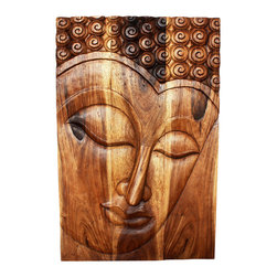 Kammika - Buddha Panel Serene Sust Wood 24 inch x 36 H w Eco Friendly Livos Walnut Oil Fin - This beautiful Buddha Panel Serene 24 inch length x 36 inch height x approximately 5 inch thickness, including the approximately 3 inch protruding nose, Sustainable Monkey Pod wood in Eco Friendly, Natural Livos Walnut Oil Finish Wall Panel presents a Buddha peaceful countenance gazing down from the magnificent, stately resource of wood. Now you can discover the calming, inspiring effect of Buddha in the Serene stage when you display this wall panel which has been carved from joining panels. Our wall panels are exquisite expressions of beauty that could become the centerpiece of any room they grace. Each of the panels has two embedded flush mount Keyhole hangers for a protruding screw from your wall. Hand carved by craftspeople in Thailand, these are made of sustainable wood grown specifically for the woodcarving industry. They are Hand rubbed in eco friendly Livos Walnut tone oil creating a highly water resistant and food safe finish, these natural oils are translucent, so the wood grain detail is highlighted; these are then polished to a matte finish. Color ranges from medium to dark Walnut brown tones that will darken as the wood ages. There is no oily feel and cannot bleed into carpets. We make minimal use of electric hand sanders in the finishing process. All products are dried in solar and or propane kilns. No chemicals are used in the process, ever. After each eco friendly piece is carved, kiln dried, sanded, and hand rubbed with Livos Mocha oil, they are packaged with cartons from recycled cardboard with no plastic or other fillers. The color and grain of your piece of Nature will be unique, and may include small checks or cracks that occur when the wood is dried. Sizes are approximate. Products could have visible marks from tools used, patches from small repairs, knot holes, natural inclusions or holes. There may be various separations or cracks on your piece when it arrives. There may be some slight variation in size, color, texture, and finish color.Only listed product included.